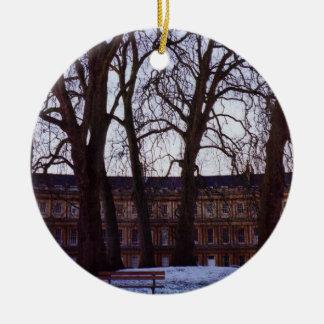 Winter in Bath Round Ceramic Decoration