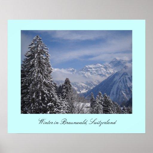 Winter in Braunwald, Switzerland Poster