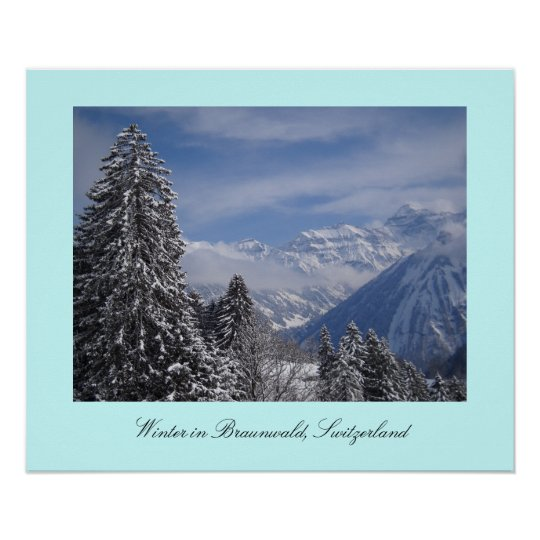 Winter in Braunwald, Switzerland Poster