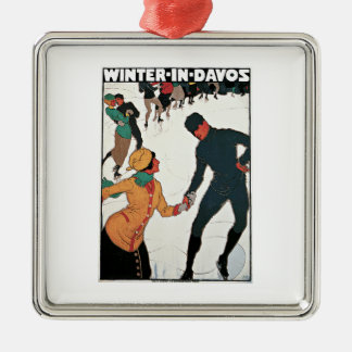 Winter in Davos Vintage Travel Poster Christmas Ornament