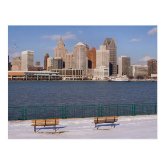 winter in detroit postcard