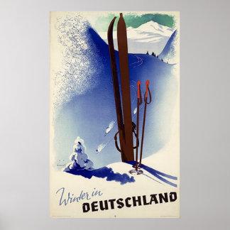 Winter in Deutschland Ski Print
