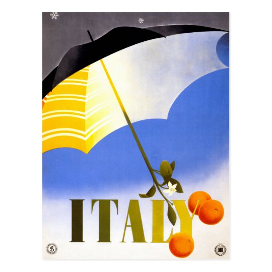 Winter in Italy Vintage Travel Poster Restored Postcard