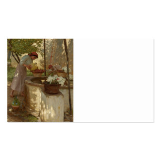 Winter in Italy Watering Flowers Business Card