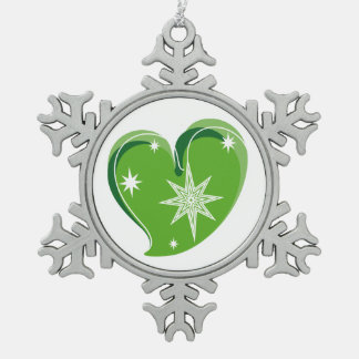 winter in love-Green Pewter Snowflake Decoration