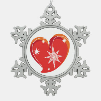 winter in love-Red Pewter Snowflake Decoration