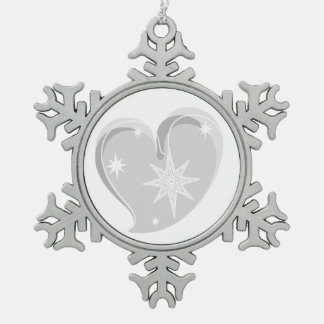 winter in love-Silver Pewter Snowflake Decoration