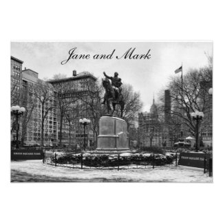 Winter in NYC s Union Square 001 Black White Custom Announcement