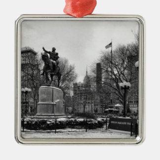 Winter in NYC's Union Square 001 Black White Silver-Colored Square Decoration