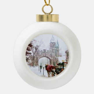 Winter in Quebec City by Shawna Mac Ceramic Ball Decoration