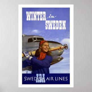 Winter in Sweden Vintage Travel Poster