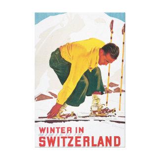 Winter in Switzerland Vintage Travel Poster Canvas Print