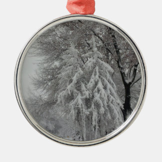 Winter in the Air!!! Round Metal Christmas Ornament