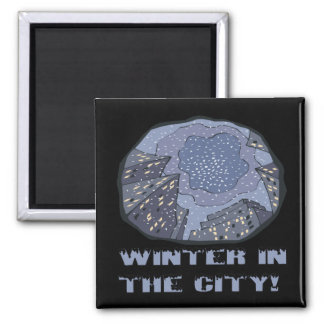 Winter In The City 2 Square Magnet