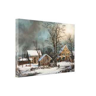 Winter in the Country, cold Morning wrapped Canvas