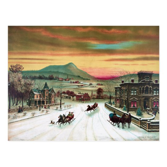 Winter in the Country Postcard