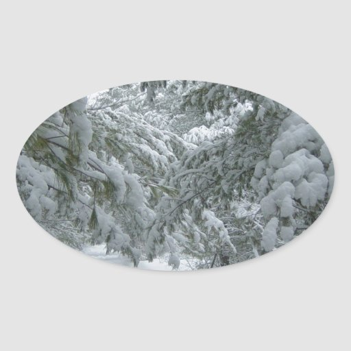 Winter in the Forest Oval Sticker