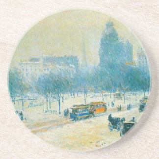 Winter in Union Square by Childe Hassam Coaster