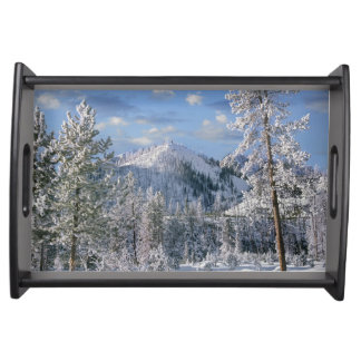 Winter in Yellowstone National Park, Wyoming Serving Tray