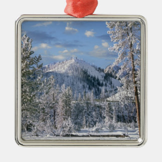 Winter in Yellowstone National Park, Wyoming Silver-Colored Square Decoration