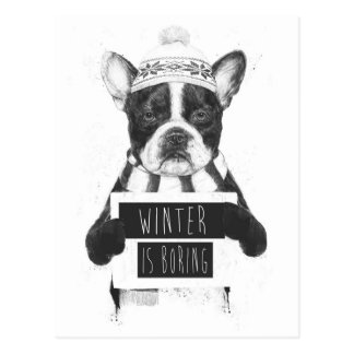 Winter is boring postcard