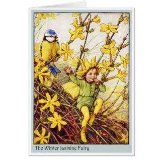Winter Jasmine Fairy Greeting Card