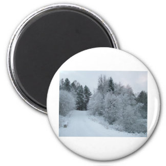 winter joy snowy road estonia 6 cm round magnet