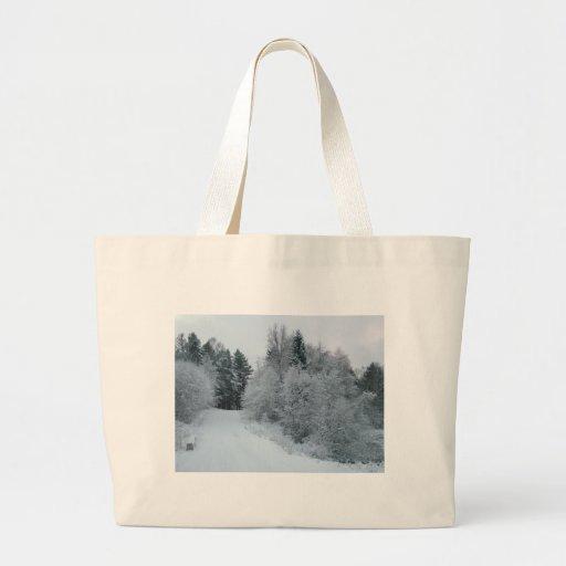 winter joy snowy road estonia canvas bag