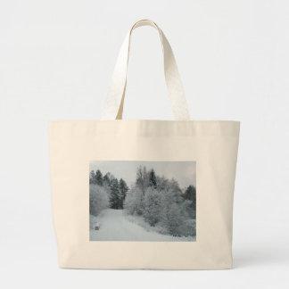 winter joy snowy road estonia canvas bags