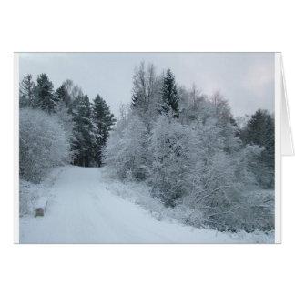 winter joy snowy road estonia card