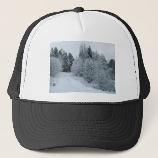 winter joy snowy road estonia trucker hat