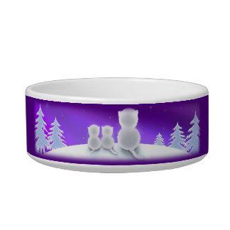 Winter Kitty Family Cat Food Bowl