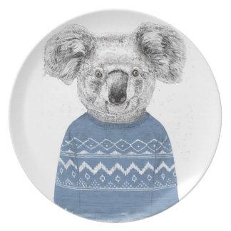 Winter koala plate