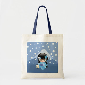 Winter Kokeshi Doll - Blue Kimono Geisha Girl Tote Bag