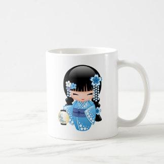 Winter Kokeshi Doll - Cute Japanese Geisha Girl Coffee Mug
