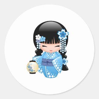 Winter Kokeshi Doll - Cute Japanese Geisha Girl Round Sticker