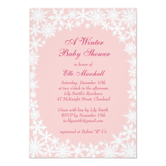 Winter Lace on Blush Baby Shower Invitation