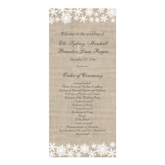 Winter Lace on Burlap Wedding Program Full Colour Rack Card