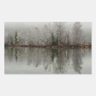 Winter Lake and Tree Scene from Austria Rectangle Sticker
