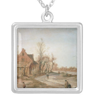 Winter Landscape, 1623 Silver Plated Necklace