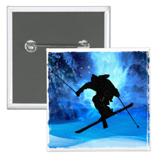Winter Landscape and Freestyle Skier 15 Cm Square Badge