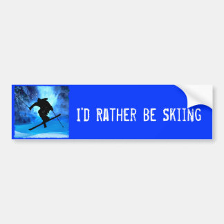 Winter Landscape and Freestyle Skier Bumper Sticker