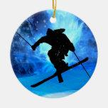 Winter Landscape and Freestyle Skier Round Ceramic Decoration