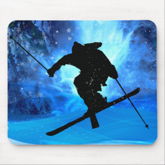 Winter Landscape and Freestyle Skier Mousepad