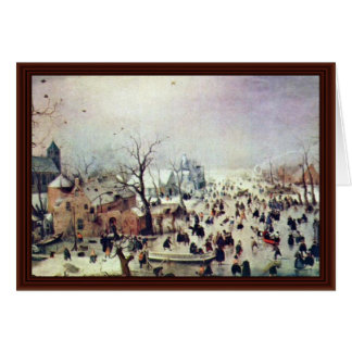 Winter Landscape By Avercamp Hendrik Card