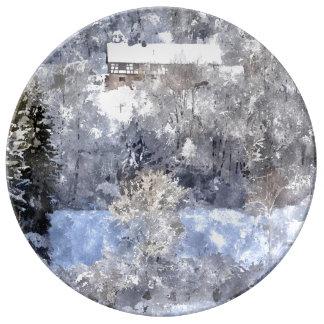 Winter landscape - by Jean Louis Glineur Plate
