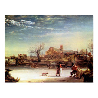 Winter Landscape by Rembrandt Harmenszoon van Rijn Post Cards