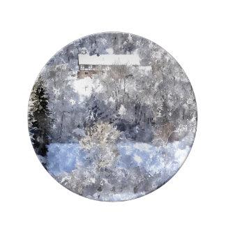Winter landscape - created by Jean Louis Glineur Plate