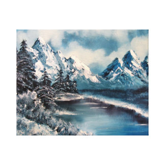 Winter landscape oil painting stretched canvas print