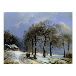 Winter Landscape Sleigh - Koekkoek Poster
